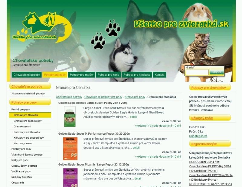 Kategória eshopu pre zvieratká
