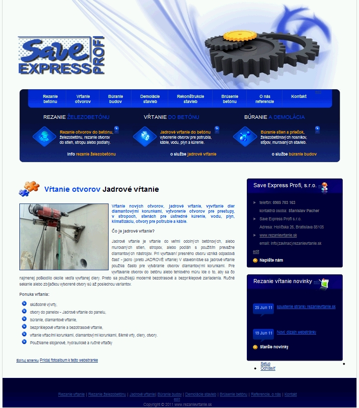 Webstránka činnosti na firemnom webe